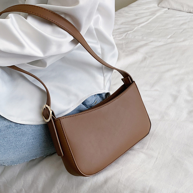 Cute Solid Color Small PU Leather Shoulder Bags For Women 2021 Summer Simple Handbags And Purses Female Travel Totes 1