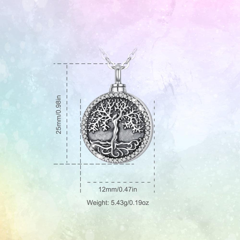 Eudora 925 argent Sterling arbre de la vie déesse cristal médaillon pendentif crémation mémorial cendres urne collier Vintage bijoux G16 2