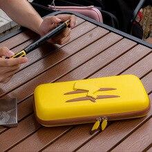 Para nintendo switch caso de armazenamento ns amarelo picachu reforçada saco anti choque caso rígido bolsa à prova dwaterproof água