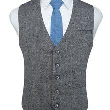 Модные мужские твидовые деловые костюмы с узором в елочку, жилет, Приталенный жилет из полушерстяной ткани, жилет для костюма или смокинга