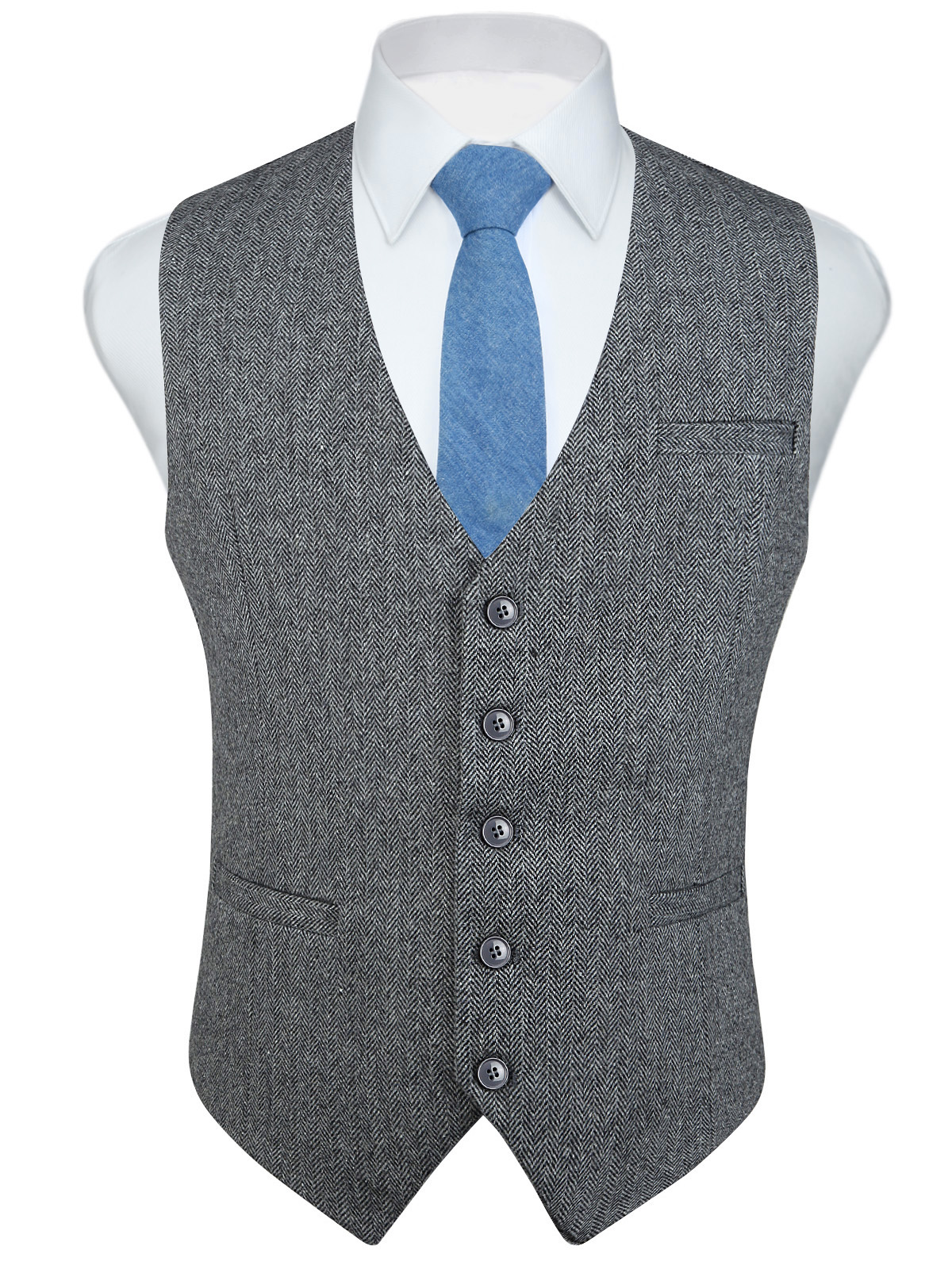 Fashion Men's Herringbone Tweed Business Suits Vest Slim Fit Fullback Wool Blend Dress Waistcoat For Suit Or Tuxedo
