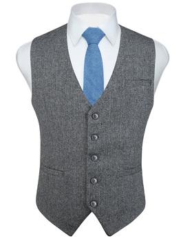 Moda męska w jodełkę Tweed garnitury biurowe kamizelka Slim Fit Fullback mieszanka wełny sukienka kamizelka na garnitur lub smoking tanie i dobre opinie HISDERN Anglia styl Z wełny Kamizelki Gray Green Navy Blue Brown Khaki