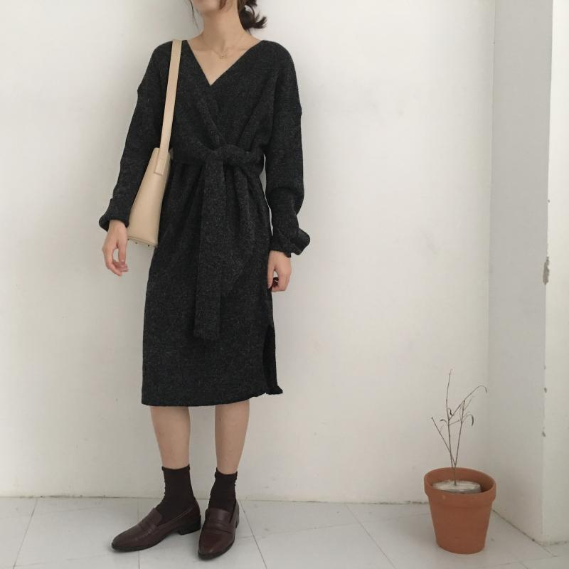 H3db7e6cab4474df496c2db49b09dc88dt - Winter Korean V-Neck Long Sleeves Knitted Dress