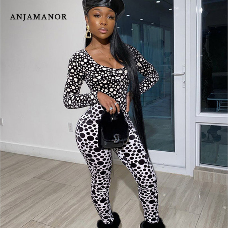 ANJAMANOR Polka Dot Print Sexy Two Piece Matching Sets Long Sleeve Bodysuit Leggings Womens Clothing Club Outfits D37-AB90