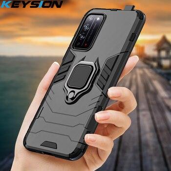 Перейти на Алиэкспресс и купить Чехол KEYSION для Honor X10, противоударный чехол-накладка с кольцом и подставкой для Huawei Y5P, Y6P, Y7P, Y8P, 30s, 9C, 9S, 9A