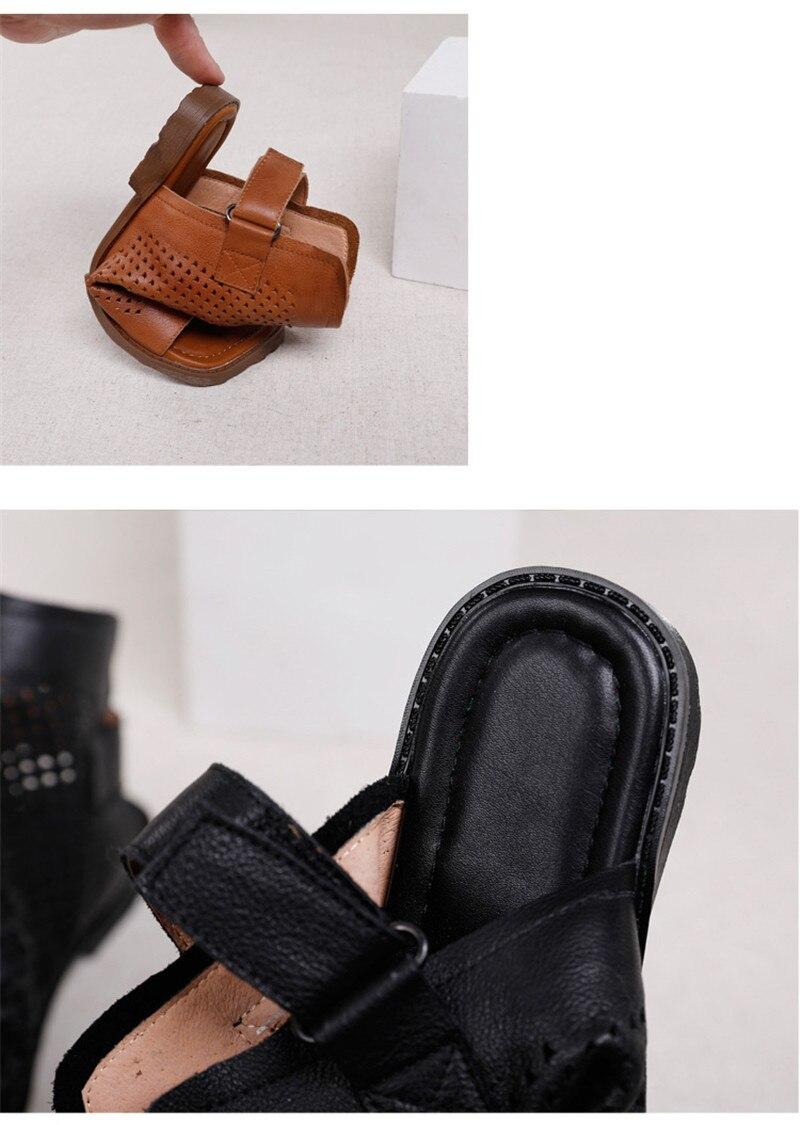 Original 2020 Summer New Gladiator Sandals For Woman Handmade Retro Hollow Peep Toe High Top Flat Layer Cowhide Female Cool Shoe (6)