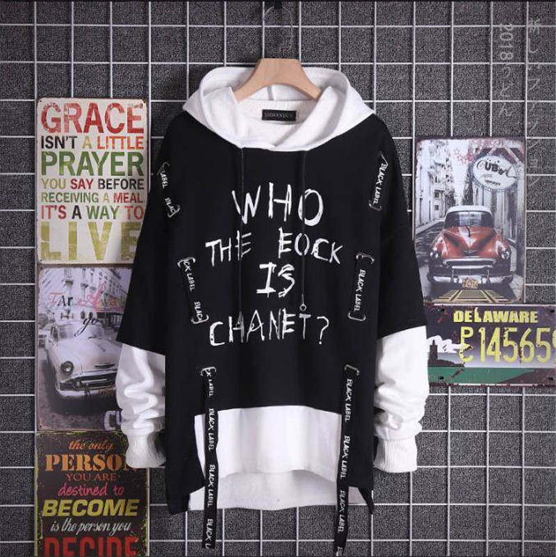 2020 New Men's Hip Hop Sweatshirts Fashion Extended Ripped Printed Hoodies Fake Two Pieces Pullover Sportwear For Male Hoodies