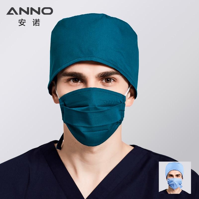 ANNO Surgical Cap With Mask Cotton Nurse Hats Men Disposable Cartoon Pharmacy Hospital Short Hair Medical Nursing Cap