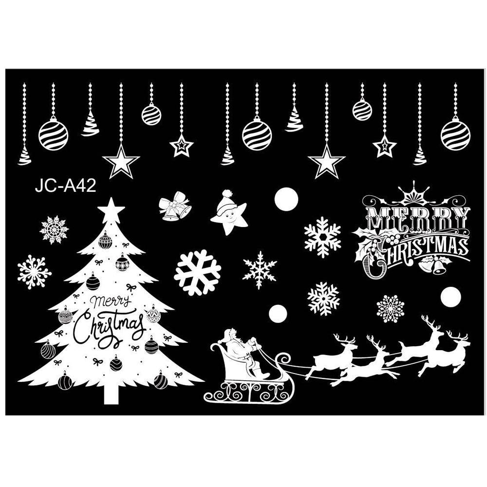New Year Christmas Window Stickers Restaurant Mall Decoration Snow Glass Window Removable Christmas Ornament Window Stickers