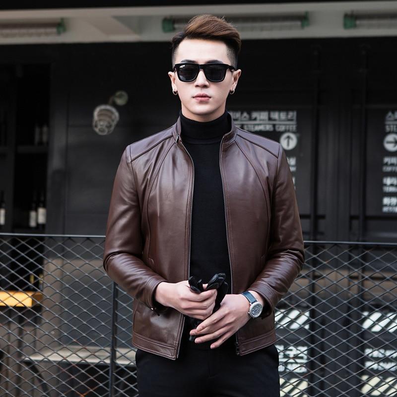 2020 Genuine Jacket Men Spring Autumn Sheepskin Coat Slim Fit Short Motorcycle Men's Leather Jackets 1YW61228 KJ3922