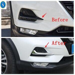Image 3 - Chrome / Carbon Fiber Look Front Fog Lights Lamps Eyelid Eyebrow Stripes Cover Trim Fit For Nissan Qashqai J11 2018 2019 2020