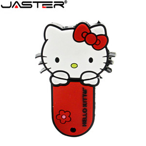 Image 4 - JASTER New style 4 colors Hello Kitty USB Flash Drive cat pen drive special gift fashion cartoon Animal pendrive 64GB/32GB/16GB