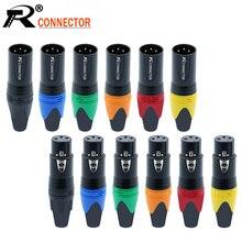 10 adet/grup 3 Pin XLR fiş Jack erkek/kadın mikrofon konektörü mikrofon adaptörü XLR kablo Termininal ses teli konektörü 7 renk