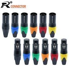 Adaptateur de Microphone, 10 pièces/lot, 3 broches pour prise XLR, connecteur de fil Audio XLR, 7 couleurs, 10 pièces/lot