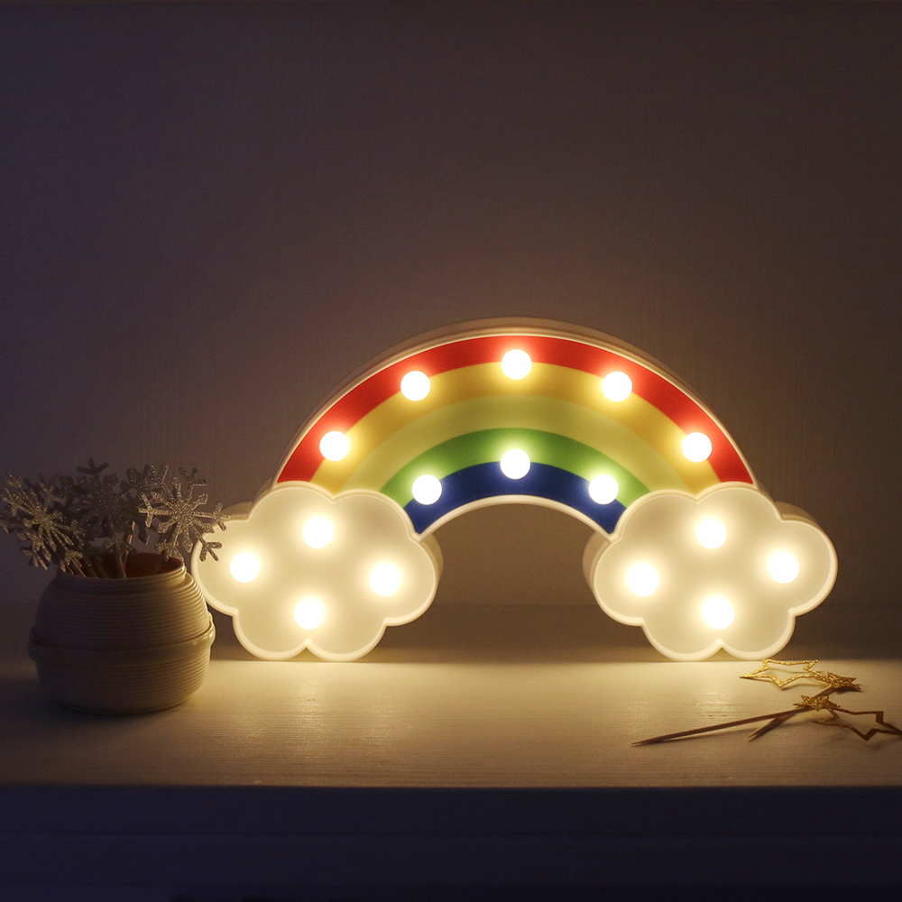 Hot Sale Night Light Rainbow Wall Lamps Battery Powered For Kids Rooms Decor Plastic Table Party Decorative Led Night Light Lamp Led Night Lights Aliexpress