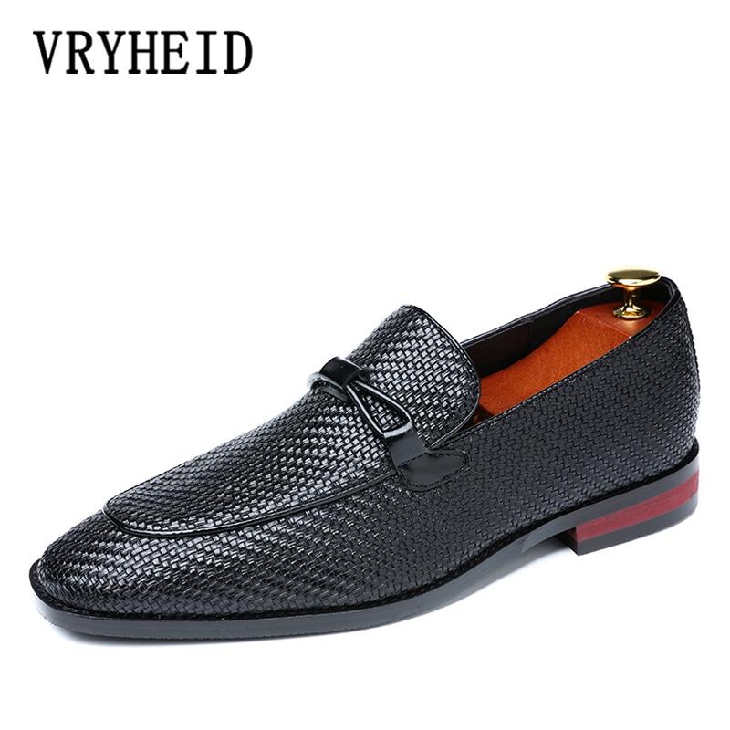 VRYHEID marca hombres zapatos de vestir de cuero suave ligero hombres zapatos mocasines deslizantes cómodos mocasines planos zapatos de conducción tamaño 37  48-in Zapatos formales from zapatos    1
