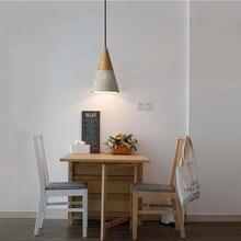 Nordic industrial pendant Lights E27 Logs timber Cement creative art attic lamp cafe restaurant pub Single head lights