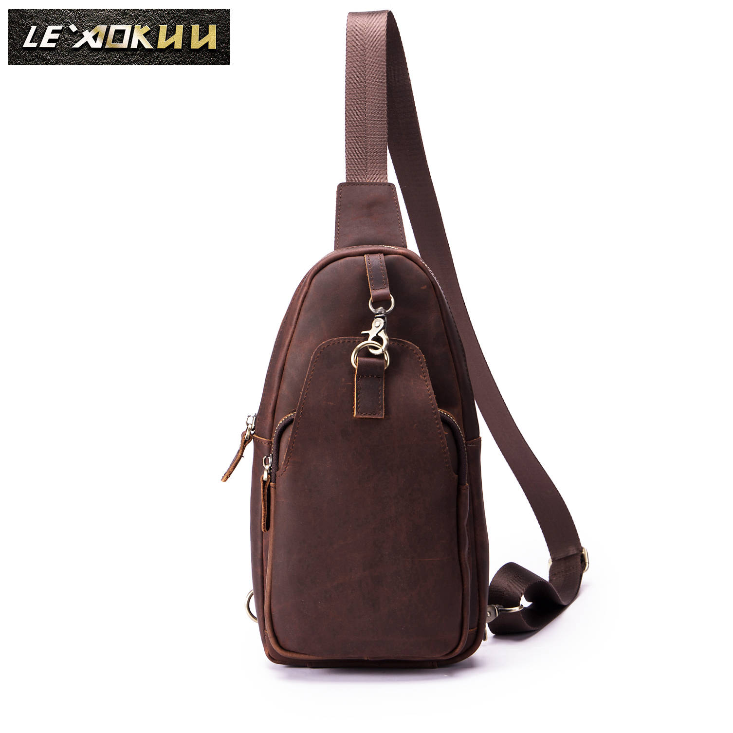 Men Quality Crazy Horse Leather Casual Fashion Crossbody Chest Sling Bag Design Travel One Shoulder Bag Daypack Male 812-23