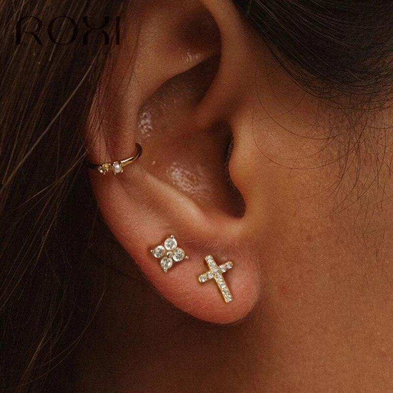 ROXI Shiny Cubic Zircon Cross Stud Earrings For Women Punk Ear Jewelry 925 Sterling Silver Earring Small Helix Piercing Earrings