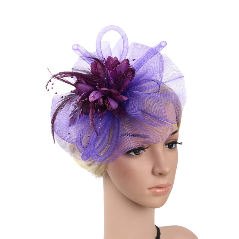 Elegant Royal Banquet Party Headwear Accessories Women Fashion Wedding Mesh Hat Fascinator Cap