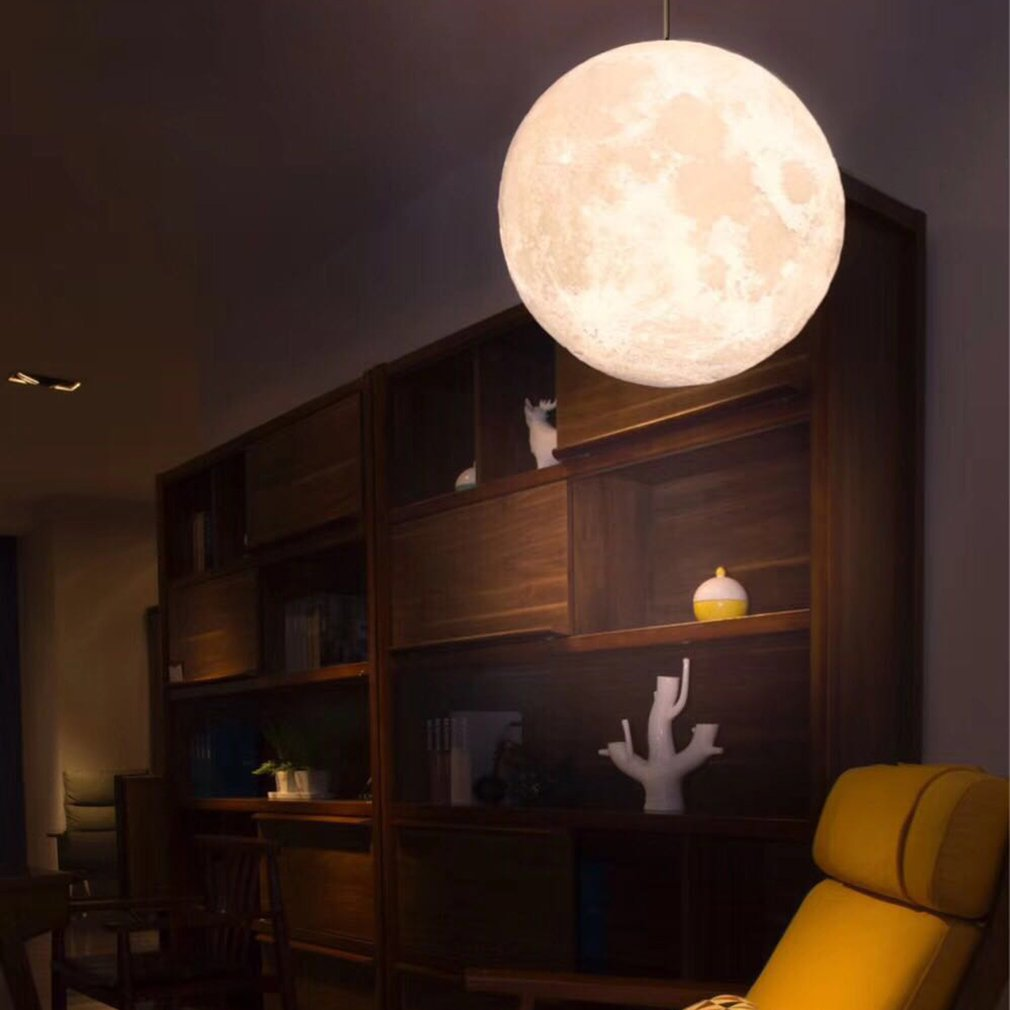 Hanging Moon Light 3D Printing Moon Light New Strange Chandelier Led Night Light Birthday Gift Home Decoration Lamp