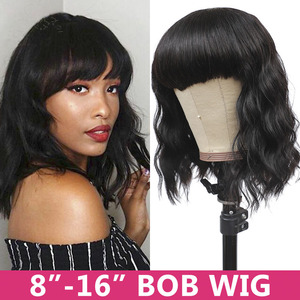 Image 2 - ガブリエル人毛ウィッグ黒人女性ショート前髪remy 30インチフル機メイドかつら