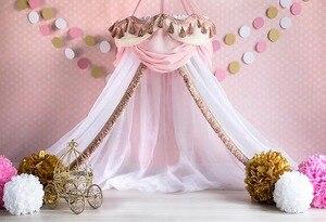Image 2 - Avezano Princess House Tent Photography Background Pink Polka Dots Flower Girl Birthday Portrait Backdrop Photo Studio Photocall