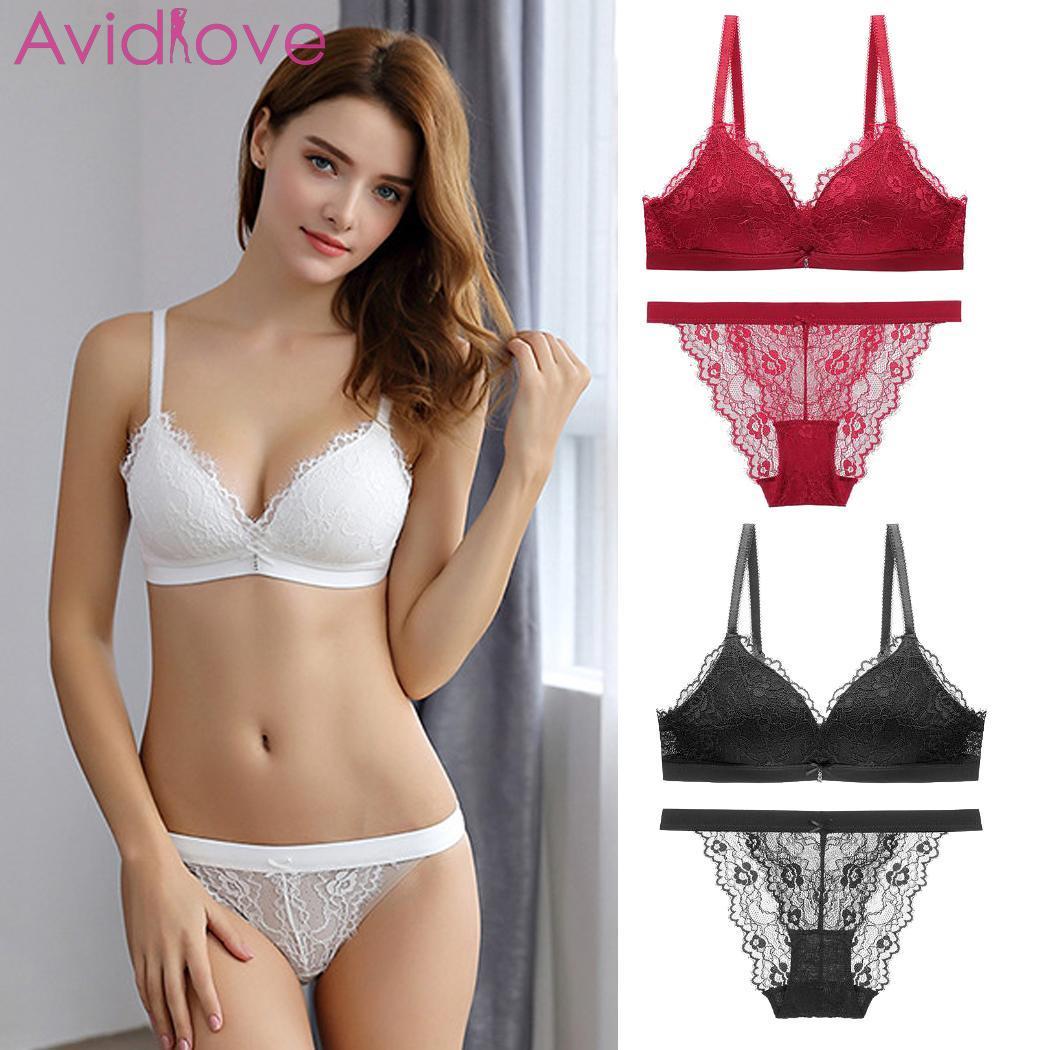 Women Fashion V Neck Push Up Bra Briefs Wireless All Seasons Back Low Solid Lace Underwear Normal Strap Set