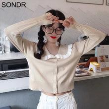 Вязаный женский короткий свитер кардиган 2020 Осенняя блузка
