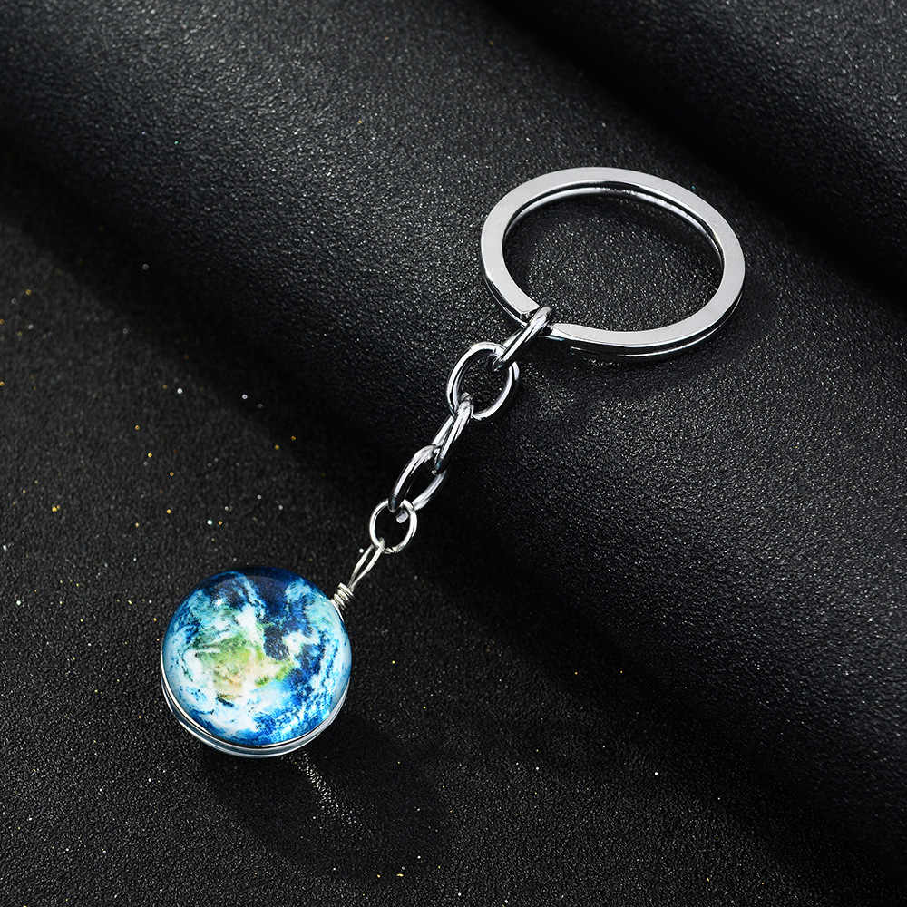 SIAN Luminous Planet Glass Ball Keychain Glow ใน Dark Blue Earth Moon Galaxy จี้ Handmade Creative Keyring Trinket ของขวัญ