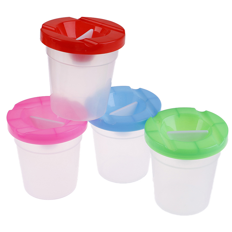 DIY Children Washing Cup Writing Brush Cup Paint Cup Painting Handmade Accessories Random Delivery Water Leakage Prevention