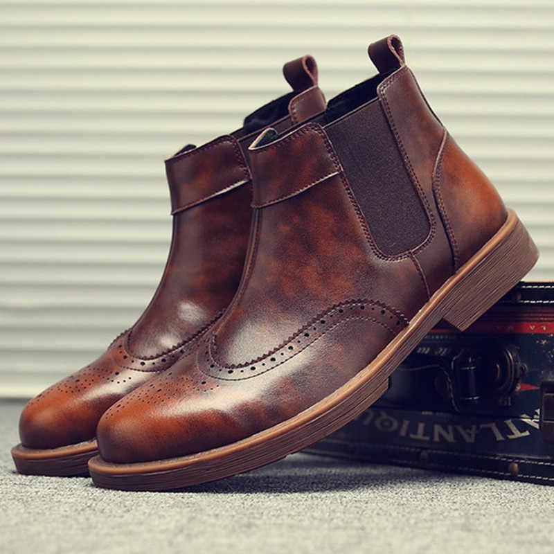 Brogues Nam Martins Giày Da Trơn Size Lớn Mắt Cá Chân Giày Handmade Xe Máy Giày Tây Chelsea Botas Hombre