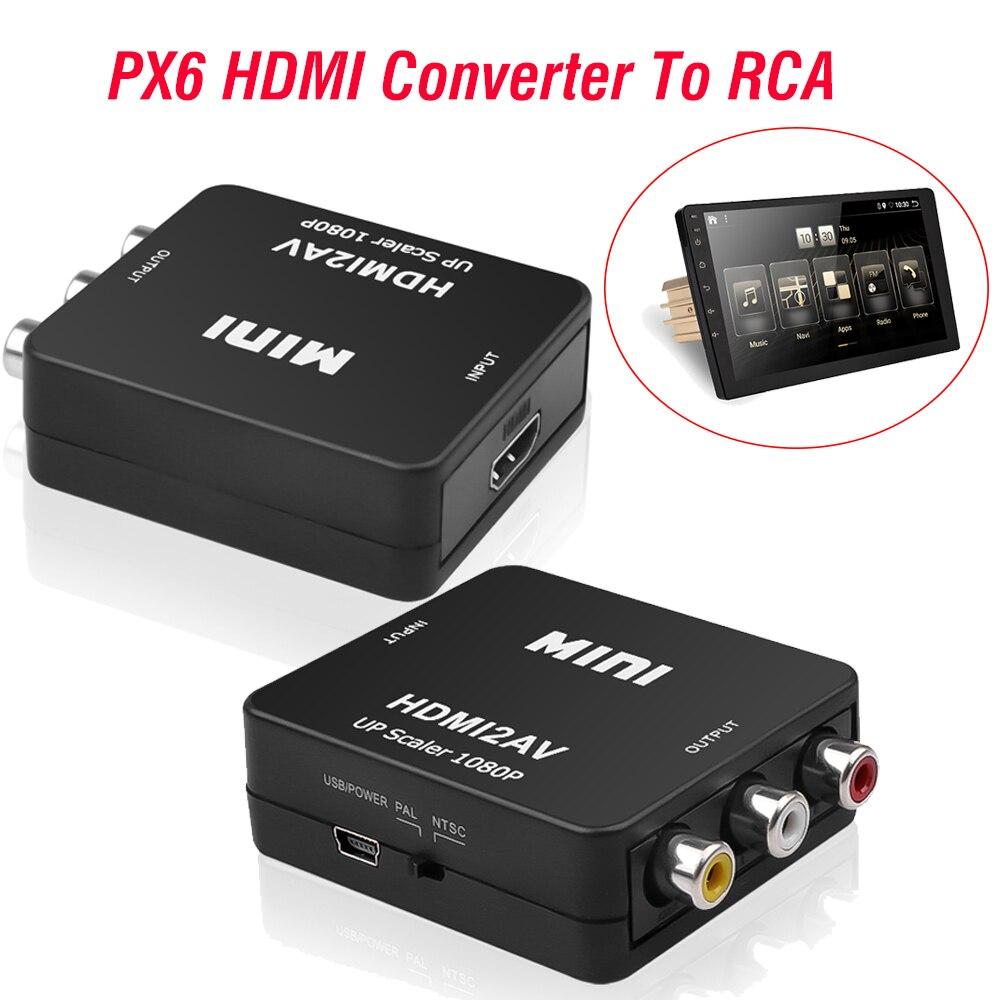 Адаптер HDMI-RCA AV/CVBS HD 1080P Mini HDMI2AV видеопреобразователь для PX6 автомагнитолы