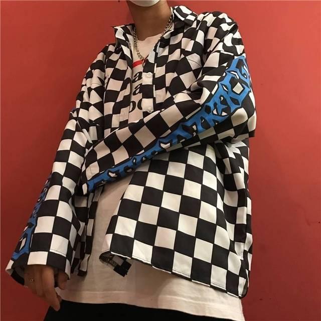 NiceMix Autumn Harajuku Shirt Women Fashion Letter Printed Loose Unisex Shirts Retro Casual Plaid Streetwear Hip Hop Womens Coat 3