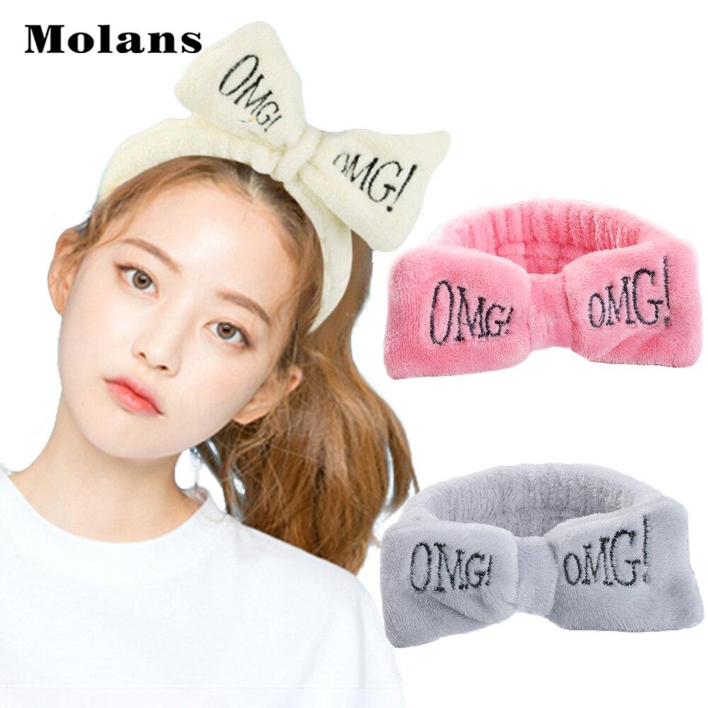 MOLANS Letter OMG Plush Bath Headband Women Wash Face Makeup Hair Bands Fall Winter Hair Accessories For Girls
