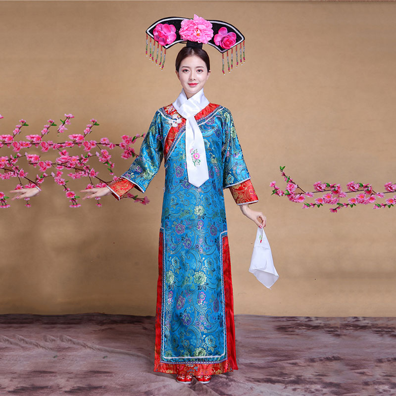 Female Qing Dynasty Dress Free Shipping Costume Ball Costume Hot Sale Chinese Ancient Traditional Infanta Dramaturgic Costume