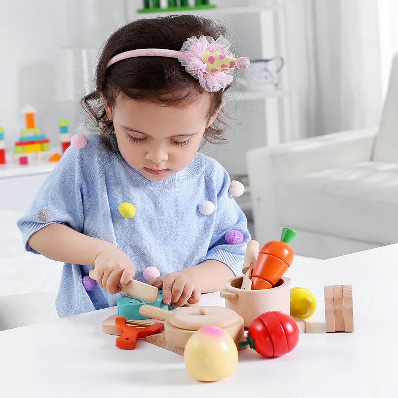 Livraison gratuite enfants en bois cuisine fruits jouets ensemble, jouets de cuisine/semblant jouer des modèles d'échelle, bébé début formation en bois bloc jouet
