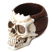Skull Head Ornament Skeleton Stationery Pen Holder Home Office Desktop Pencil Organizer Makeup Tools Storage Halloween Decor
