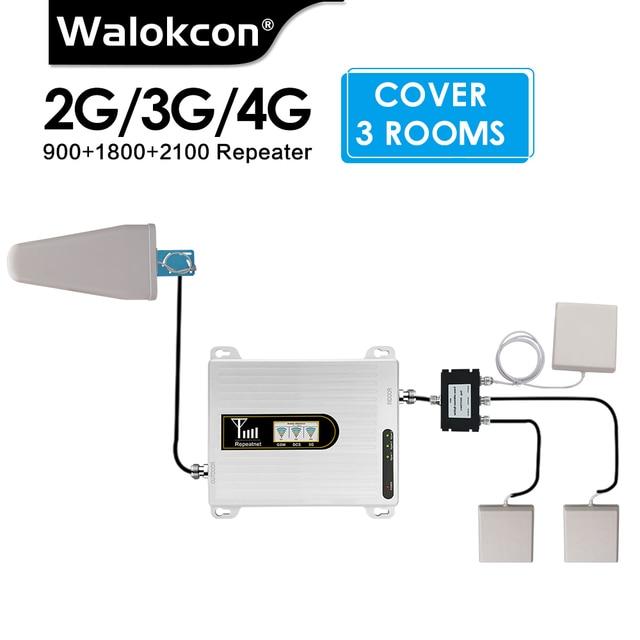 2G 3G 4G Gsm Signaal Repeater 900/1800/2100 Tri Band Mobiele Booster 3 Pcs Interne Antenne set Gsm Dcs Lte Wcdma 4G Versterker Set