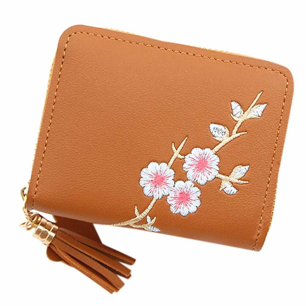 Femmes sacs à main en plein air mode tendance couleur unie fleur à franges en cuir carte portefeuille femmes petit changement Mini argent sac à main