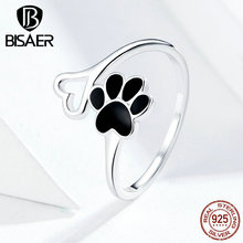 Dog Footprints BISAER Hot Sale 925 Sterling Silver Dog Doggy Pets' Footprint Finger Rings for Women Love Animal Jewelry ECR584