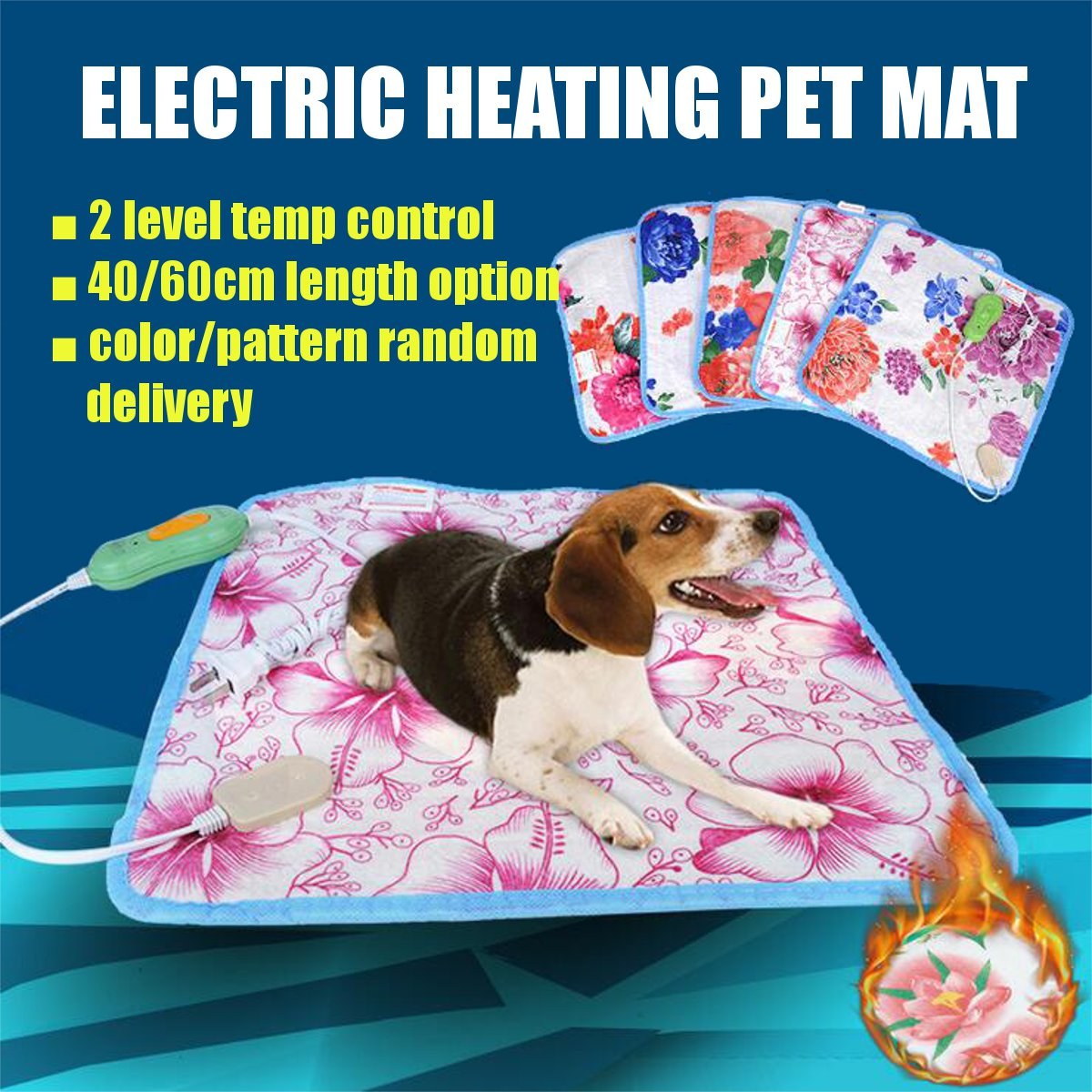 40x40/60cm Electric Heating Pad Blanket Pet Mat Bed Cat Dog Winter Warmer Pad Home Office Chair Heated Mat 220V Random Patterns