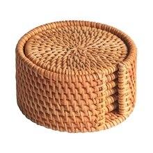 Акция-6 шт./набор подставок для чая кунг-фу, аксессуары для чая, круглый коврик для посуды, коврик для посуды из ротанга