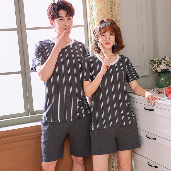 Pajamas For Couples Summer Men Pyjama Plus Size Women Lounge Suit Stripe Two Piece Set Shorts Pajamas Cotton Casual Sleepwear