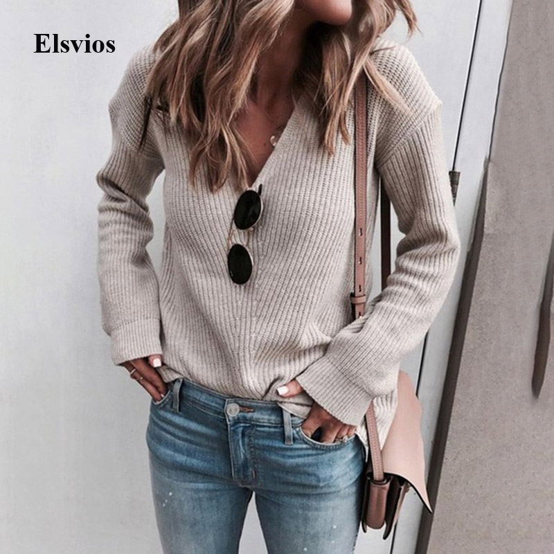 Elsvios Autumn Winter Warm Knitted Sweater Women Sexy V Neck Fall Sweaters Solid Casual Female Long Sleeve Pullover Tops Jumper