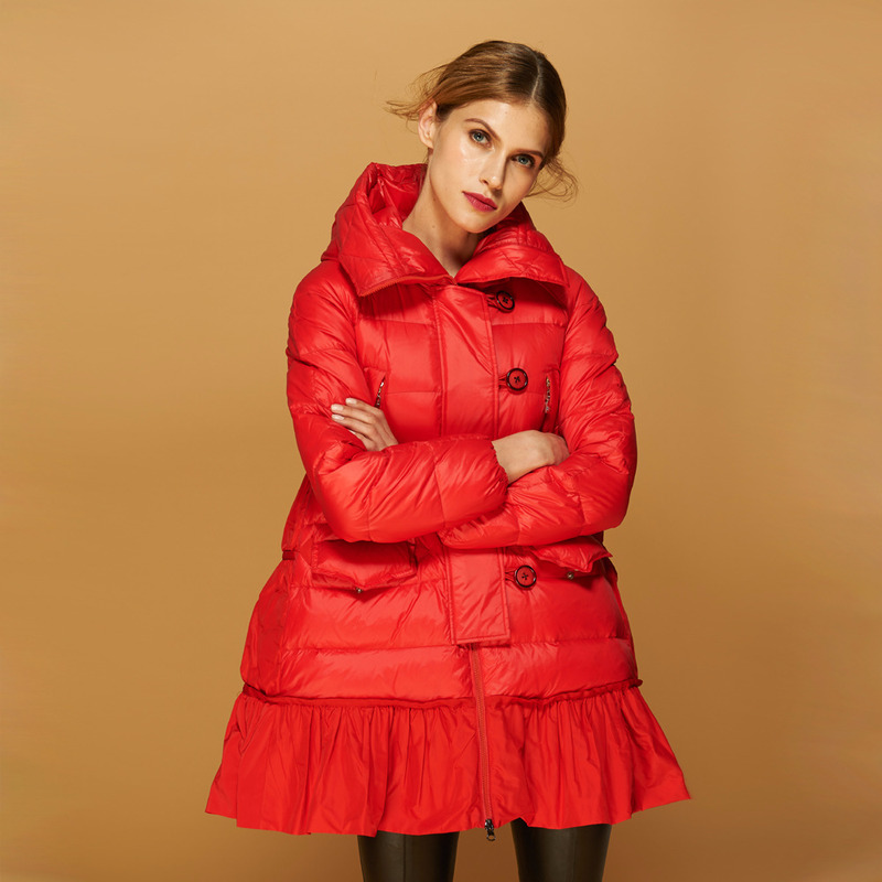 Winter Coat Women Fashion Red Duck Down Jacket Woman Hooded Long A-Line Coats Female Jacket Parkas Mujer 2020 KJ602