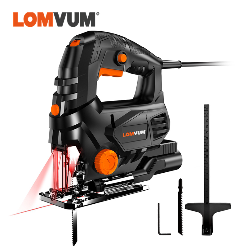 LOMVUM Laser Jigsaw Power Tool Machine Electric Saw With Laser Guide Jig Saw For Metal Wood Steel Cutter Blades For Woodworking