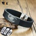 Vnox Personalisieren Gravieren Armbänder für Männer Komfortable Silikon Band mit Edelstahl ID-Tag Custom Familie BFF Geschenke für Ihn
