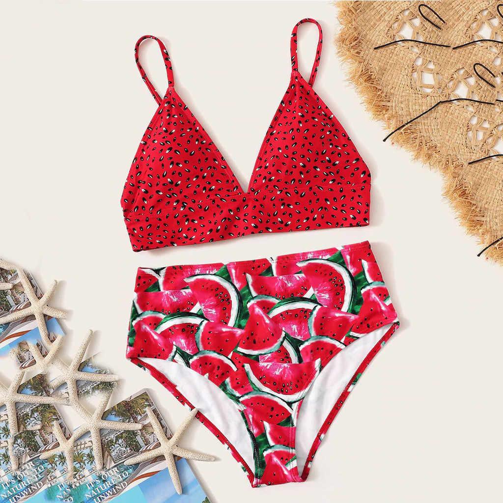 38 # Wanita Semangka Swimsuit Cetak Tabung Dua Potongan Bikini Push-Up Baju Renang Pakaian Renang Pakaian Renang Купальник Больших Размеров