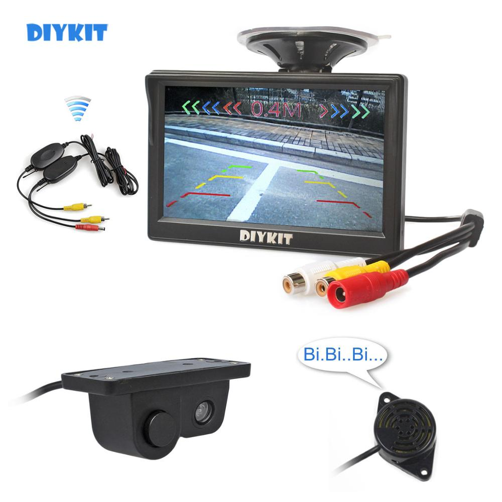 "DIYKIT Drahtlose 5 ""Farbe TFT LCD Auto Monitor + Wasserdicht Parkplatz Radar Sensor Auto Kamera Rückansicht Kamera Parkplatz system"